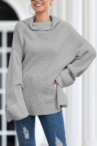 Grey Turtleneck Split Solid Acrylic Pure Long Sleeve  Sweaters & Cardigans MMY01020
