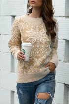Khaki O Neck Slim fit snowflake knit Others Long Sleeve  Sweaters & Cardigans MMY01055