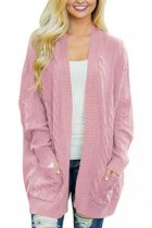 Pink V Neck Solid Acrylic Pure Long Sleeve  Sweaters & Cardigans MMY01030
