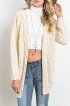 Cream white V Neck Solid knit Pure Long Sleeve  Sweaters & Cardigans MMY01043