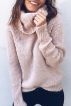 Pink Turtleneck Solid knit Pure Long Sleeve  Sweaters & Cardigans MMY01042