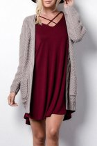 Coffee V Neck Solid knit Pure Long Sleeve  Sweaters & Cardigans MMY01043
