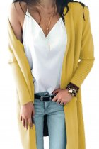 Yellow V Neck Solid Acrylic Pure Long Sleeve  Sweaters & Cardigans MMY01023