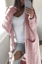 Pink V Neck Solid Cotton Pure Long Sleeve  Sweaters & Cardigans MMY01040