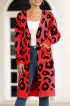 Red V Neck Leopard Cotton Others Long Sleeve  Sweaters & Cardigans MMY01071