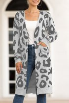Grey V Neck Leopard Cotton Others Long Sleeve  Sweaters & Cardigans MMY01071