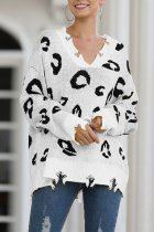 White V Neck Hole Leopard Acrylic Others Long Sleeve  Sweaters & Cardigans MMY01065