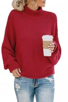 Wine Red Turtleneck Solid Acrylic Pure Long Sleeve  Sweaters & Cardigans MMY01074