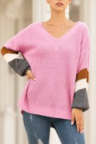 rose red V Neck Striped Wool Striped Long Sleeve  Sweaters & Cardigans MMY01064