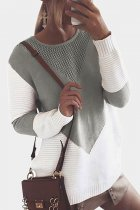 Grey O Neck Patchwork contrast color knit Others Long Sleeve  Sweaters & Cardigans MMY01068