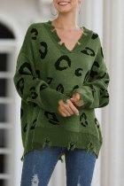 Green V Neck Hole Leopard Acrylic Others Long Sleeve  Sweaters & Cardigans MMY01065