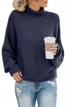 Navy Blue Turtleneck Solid Acrylic Pure Long Sleeve  Sweaters & Cardigans MMY01074