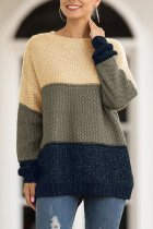 Brown O Neck Patchwork Striped Cotton Striped Long Sleeve  Sweaters & Cardigans MMY01070