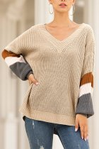 Khaki V Neck Striped Wool Striped Long Sleeve  Sweaters & Cardigans MMY01064