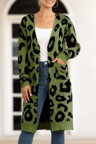 Army Green V Neck Leopard Cotton Others Long Sleeve  Sweaters & Cardigans MMY01071