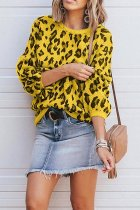 Yellow O Neck Leopard Cotton Others Long Sleeve  Sweaters & Cardigans MMY01079