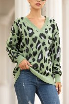 Green V Neck Leopard Cotton Others Long Sleeve  Sweaters & Cardigans MMY01072