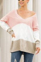 Pink V Neck Striped Acrylic Striped Long Sleeve  Sweaters & Cardigans MMY01066