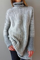 Light Gray Turtleneck Patchwork contrast color Sticky Others Long Sleeve  Sweaters & Cardigans MMY01067