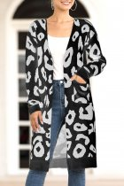 Black V Neck Leopard Cotton Others Long Sleeve  Sweaters & Cardigans MMY01071
