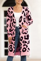 Pink V Neck Leopard Cotton Others Long Sleeve  Sweaters & Cardigans MMY01071
