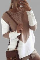 Khaki O Neck Patchwork contrast color knit Others Long Sleeve  Sweaters & Cardigans MMY01068