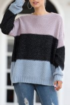Black O Neck Patchwork Striped Cotton Striped Long Sleeve  Sweaters & Cardigans MMY01070