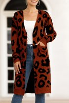 Coffee V Neck Leopard Cotton Others Long Sleeve  Sweaters & Cardigans MMY01071