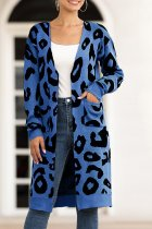 Blue V Neck Leopard Cotton Others Long Sleeve  Sweaters & Cardigans MMY01071
