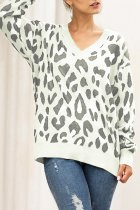 White V Neck Leopard Cotton Others Long Sleeve  Sweaters & Cardigans MMY01072