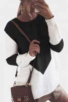 Black O Neck Patchwork contrast color knit Others Long Sleeve  Sweaters & Cardigans MMY01068