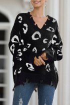 Black V Neck Hole Leopard Acrylic Others Long Sleeve  Sweaters & Cardigans MMY01065