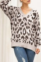 Khaki V Neck Leopard Cotton Others Long Sleeve  Sweaters & Cardigans MMY01072