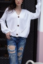 White V Neck Solid Patchwork knit Pure Long Sleeve  Sweaters & Cardigans MY002004