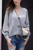 Grey V Neck Solid Patchwork knit Pure Long Sleeve  Sweaters & Cardigans MY002004