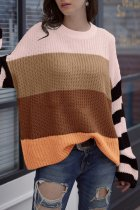 Brown O Neck Patchwork Striped knit Striped Long Sleeve  Sweaters & Cardigans MY002003
