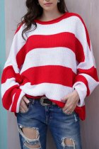 Red O Neck Striped Patchwork knit Striped Long Sleeve  Sweaters & Cardigans MY002005