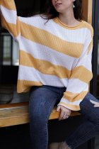 Yellow O Neck Striped Patchwork knit Striped Long Sleeve  Sweaters & Cardigans MY002005