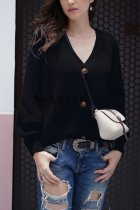 Black V Neck Solid Patchwork knit Pure Long Sleeve  Sweaters & Cardigans MY002004