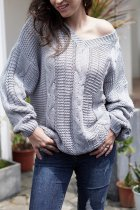 Grey V Neck Patchwork Solid knit Pure Long Sleeve  Sweaters & Cardigans MY002009