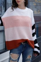 Pink O Neck Patchwork Striped knit Striped Long Sleeve  Sweaters & Cardigans MY002003