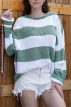Green O Neck Striped Patchwork knit Striped Long Sleeve  Sweaters & Cardigans MY002005