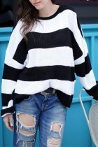 Black O Neck Striped Patchwork knit Striped Long Sleeve  Sweaters & Cardigans MY002005