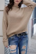 Khaki Turtleneck Solid Patchwork knit Pure Long Sleeve  Sweaters & Cardigans MY002008