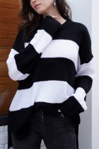 Black O Neck Patchwork Striped knit Striped Long Sleeve  Sweaters & Cardigans MY002006