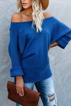 Blue O Neck Patchwork Solid knit Pure Long Sleeve  Sweaters & Cardigans MY002013