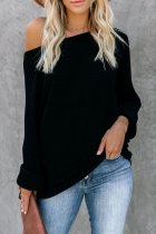 Black O Neck Patchwork Solid knit Pure Long Sleeve  Sweaters & Cardigans MY002013