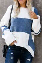 The cowboy blue O Neck Striped Patchwork knit Striped Long Sleeve  Sweaters & Cardigans MY002014
