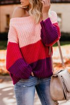 Red One word collar Patchwork Striped knit Striped Long Sleeve  Sweaters & Cardigans MY002015