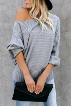 Grey O Neck Patchwork Solid knit Pure Long Sleeve  Sweaters & Cardigans MY002013